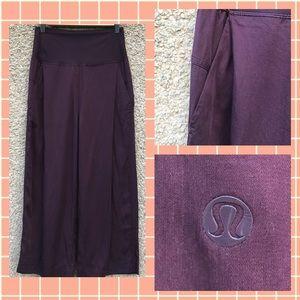 Lululemon Crop Pant Wide Leg Dress Pleats 4 Plum
